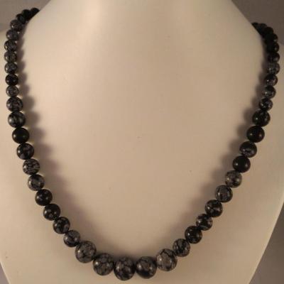 0201 collier obsidienne neige