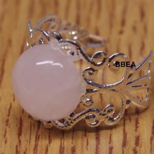 Bague quartz rose 12mm epaisse 2