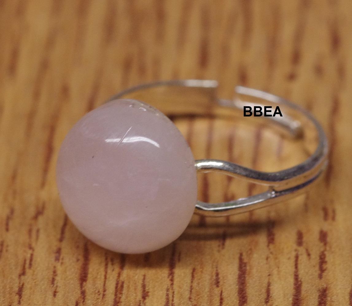 Bague quartz rose 12mm fine 3