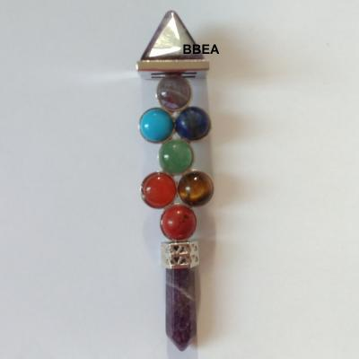 Baton d energie 7 chakras et amethyste
