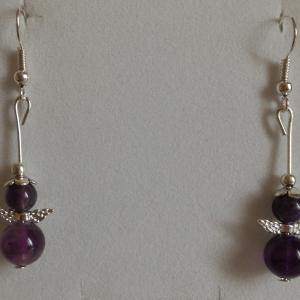 Boucles amethyste ange