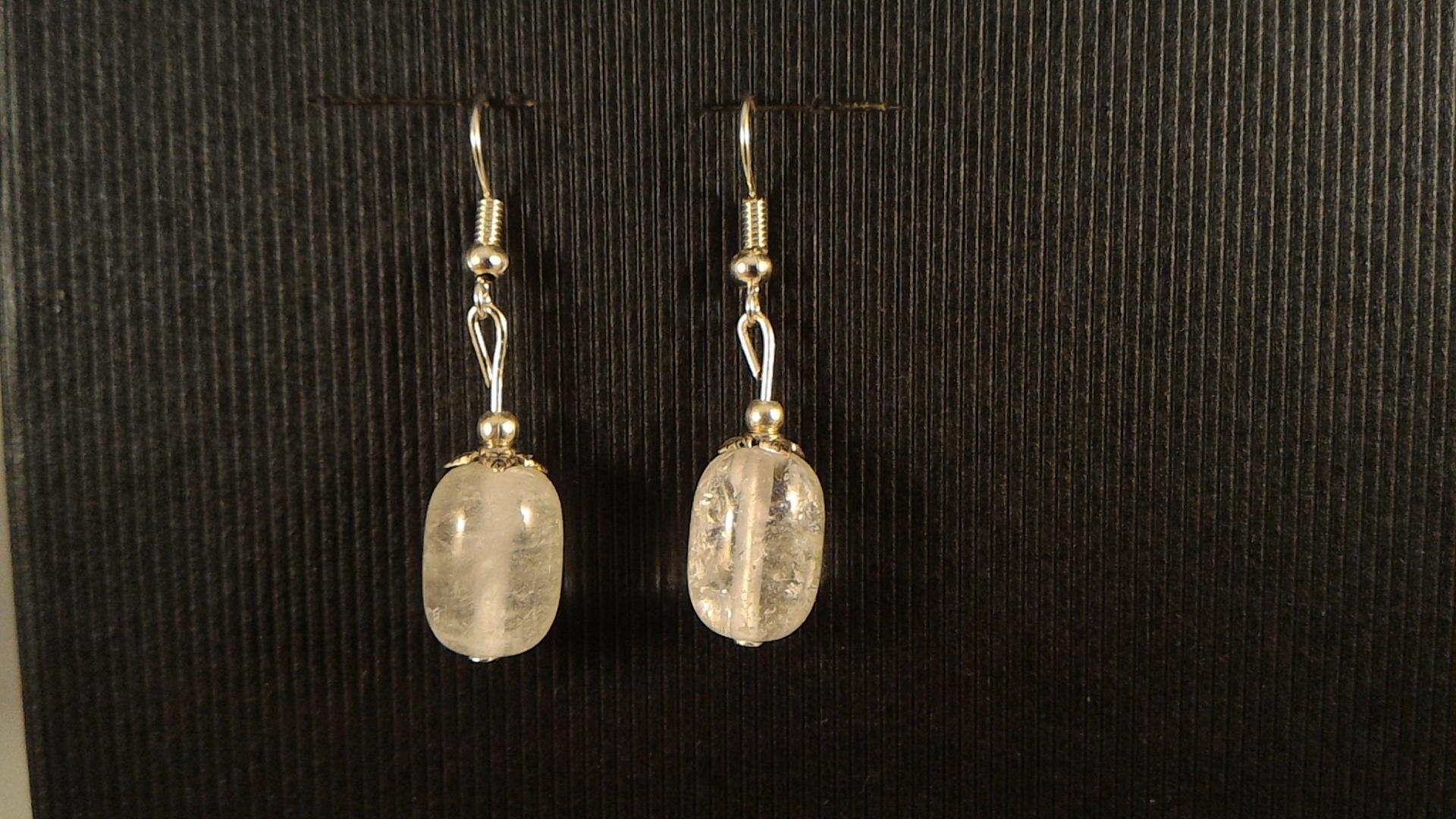Boucles cristal de roche tonneau