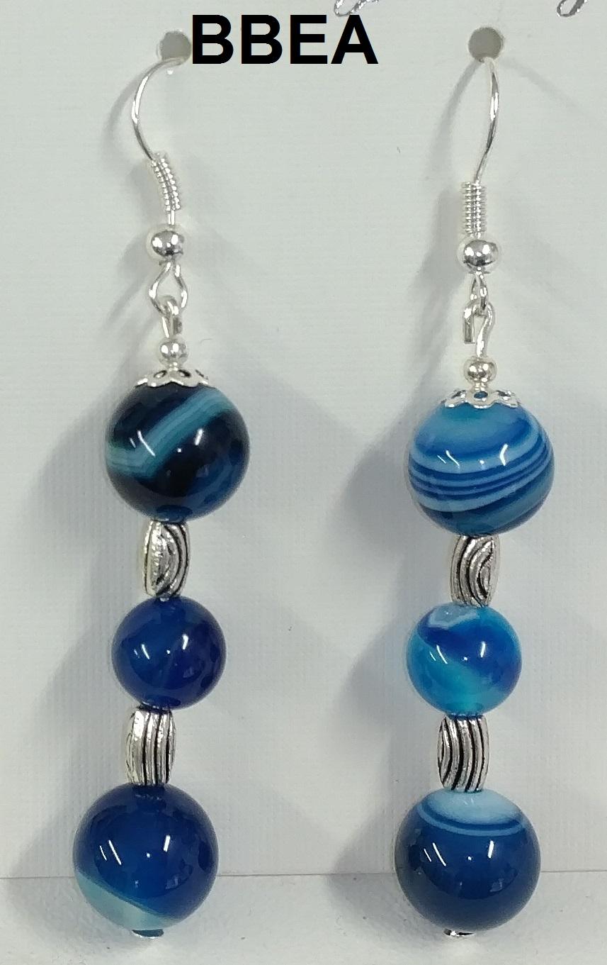 Boucles d oreilles agate bleue 1