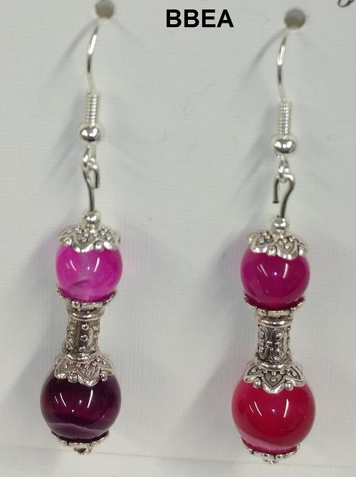 Boucles d oreilles agate rose 2