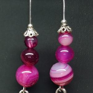 Boucles d oreilles agate rose 3