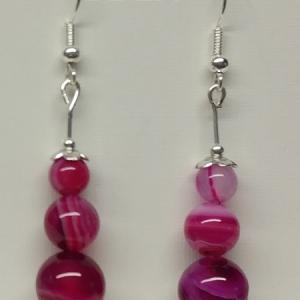 Boucles d oreilles agate rose