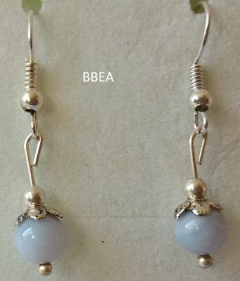 Boucles d oreilles en calcedoine bleue 2