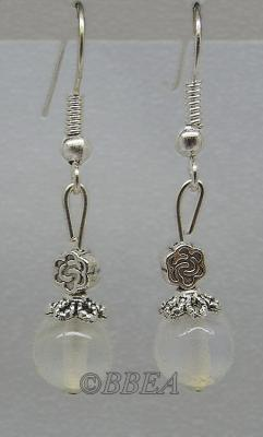 Boucles d oreilles jade blanc 3697