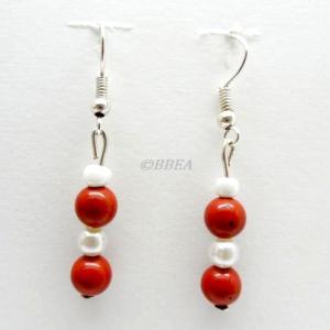 Boucles d oreilles jaspe rouge 2466