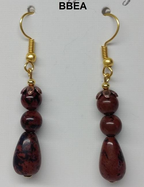Boucles d oreilles obsidienne acajou 2 1