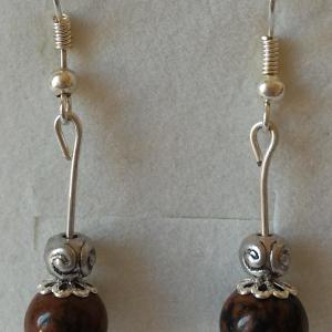 Boucles d oreilles obsidienne acajou 2
