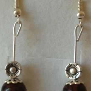 Boucles d oreilles obsidienne acajou 3