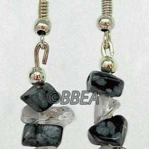 Boucles d oreilles obsidienne neige 3110