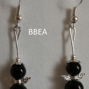 Boucles d oreilles obsidienne noire
