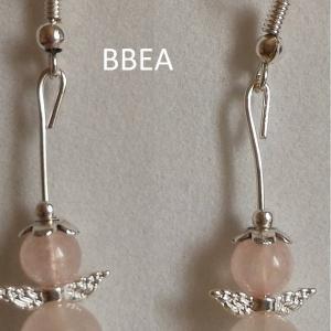 Boucles d oreilles quartz rose 1