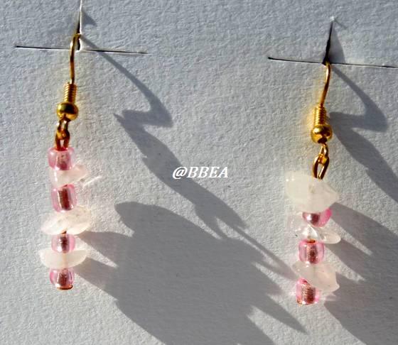 Boucles d oreilles quartz rose 1341