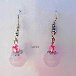 Boucles d oreilles quartz rose 1367