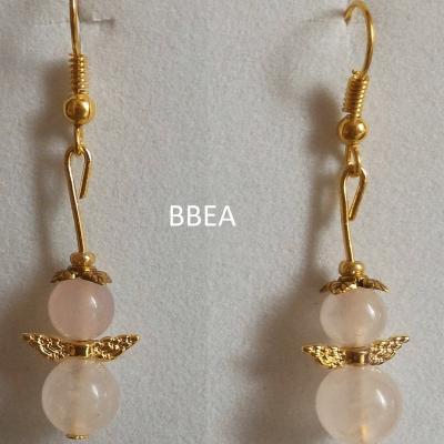 Boucles d oreilles quartz rose 2