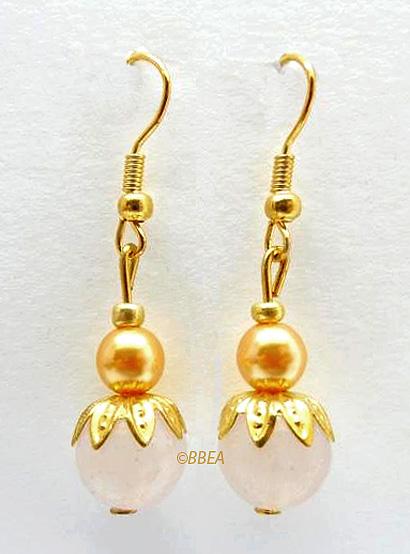 Boucles d oreilles quartz rose 2470