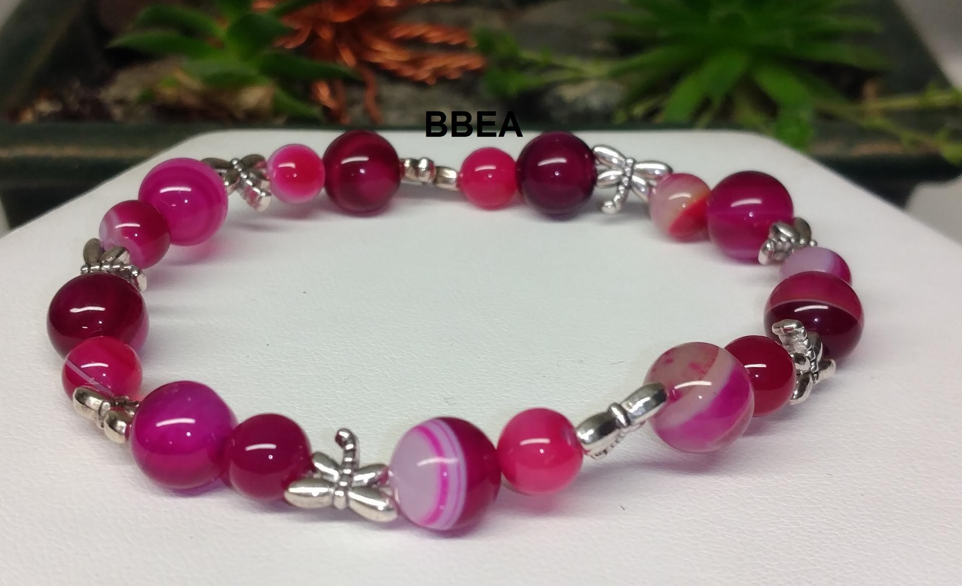 Bracelet agate rose 2