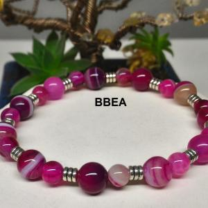 Bracelet agate rose 6