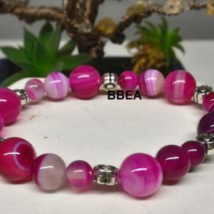 Bracelet agate rose 7