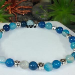 Bracelet agate teintee bleue 2