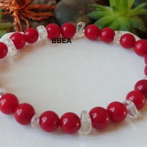 Bracelet corail et cristal de roche