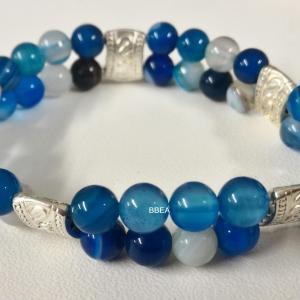 Bracelet double agate bleue