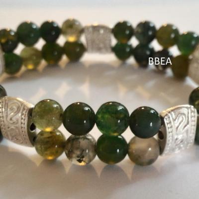 Bracelet double agate mousse 18