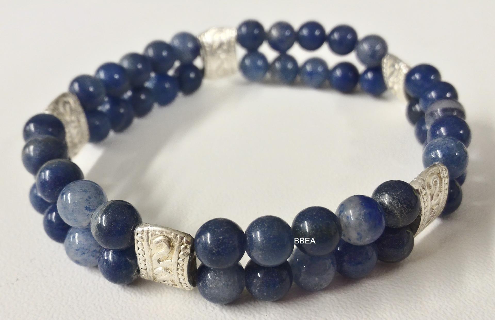 Bracelet double aventurine bleue