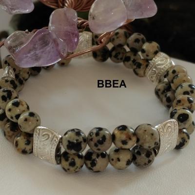 Bracelet double jaspe dalmatien