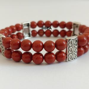 Bracelet double jaspe rouge 1