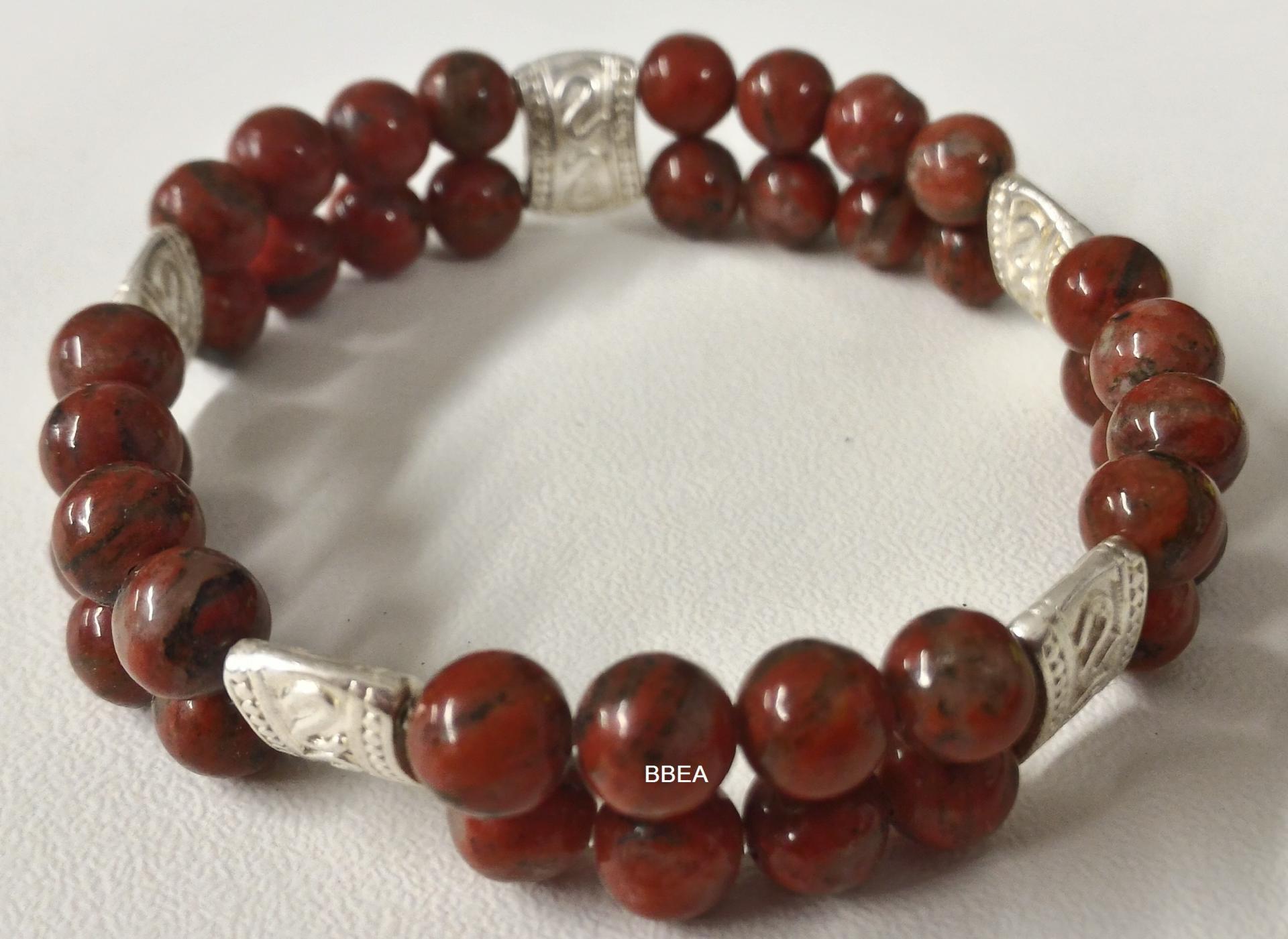 Bracelet double jaspe rouge