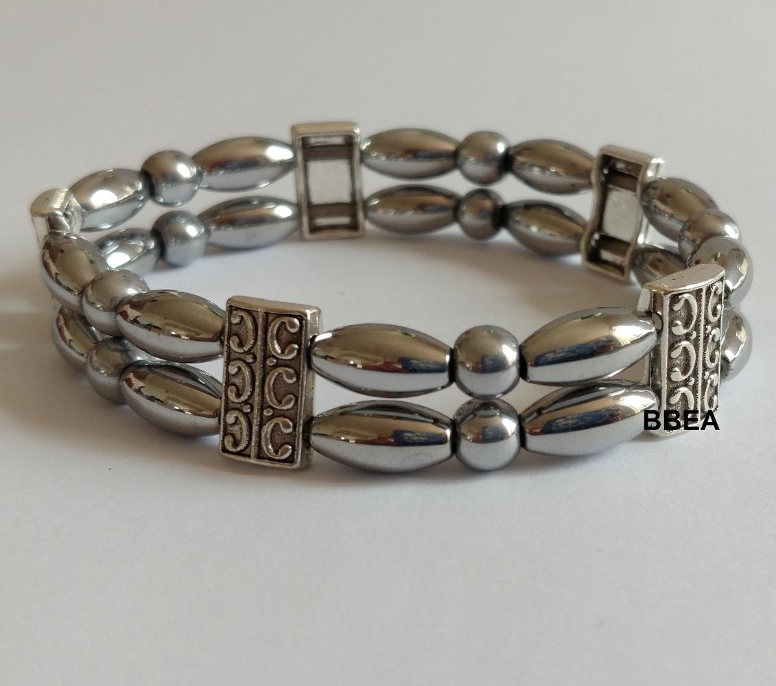 Bracelet hematite grise double 1