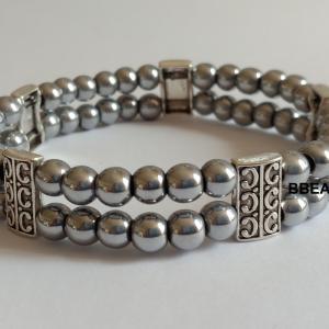 Bracelet hematite grise double 2