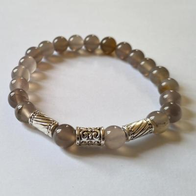 Bracelet homme agate grise 1