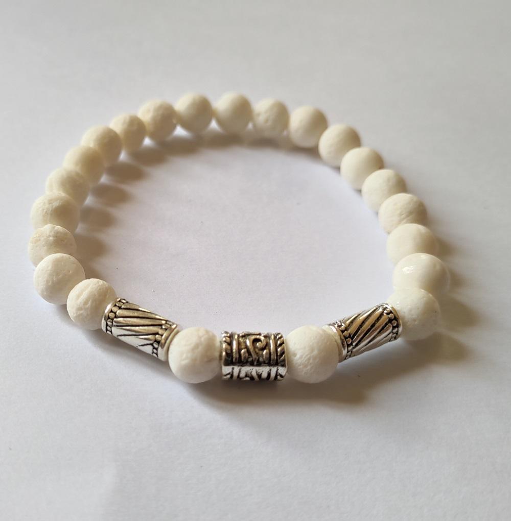 Bracelet homme corail blanc