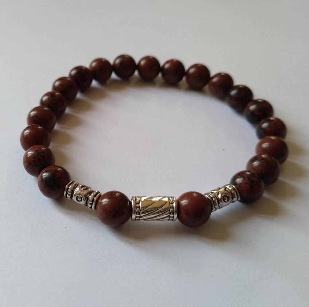 Bracelet homme obsidienne acajou 1
