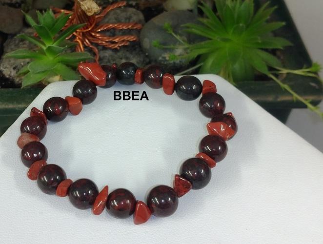 Bracelet jaspe brechia et jaspe rouge