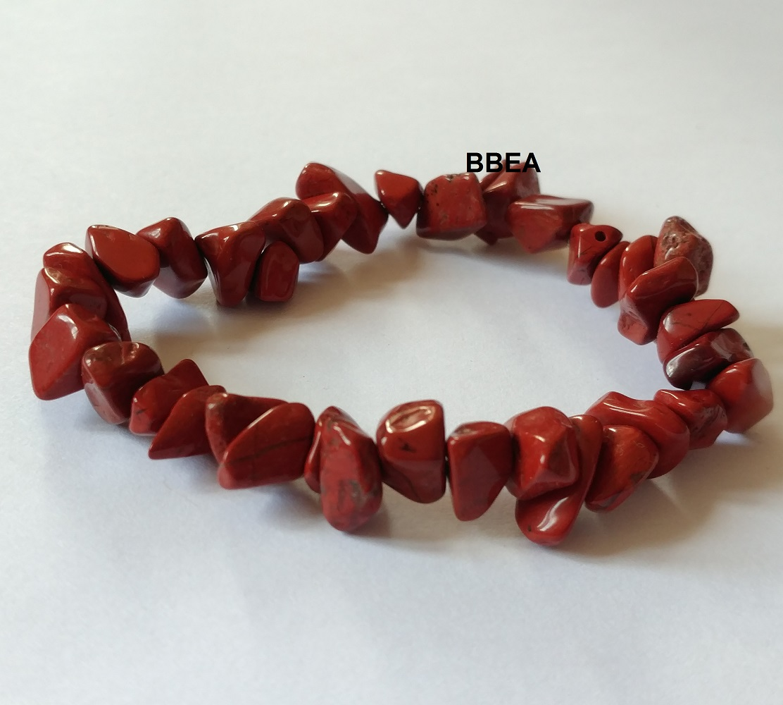 Bracelet jaspe rouge chips