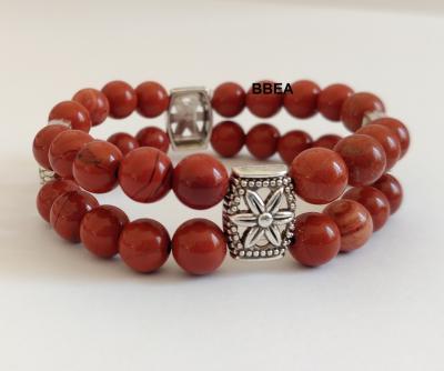 Bracelet jaspe rouge double 2