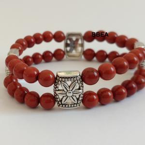 Bracelet jaspe rouge double