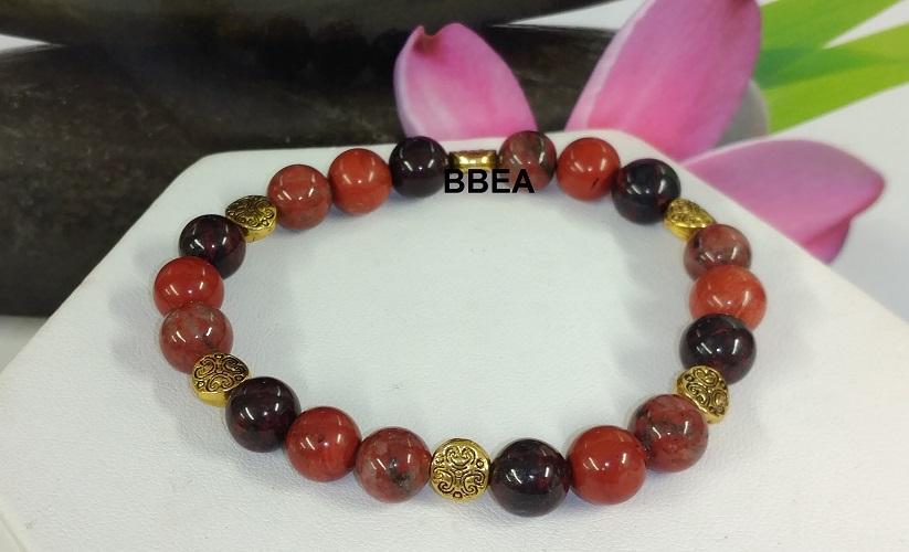 Bracelet jaspe rouge et brechia
