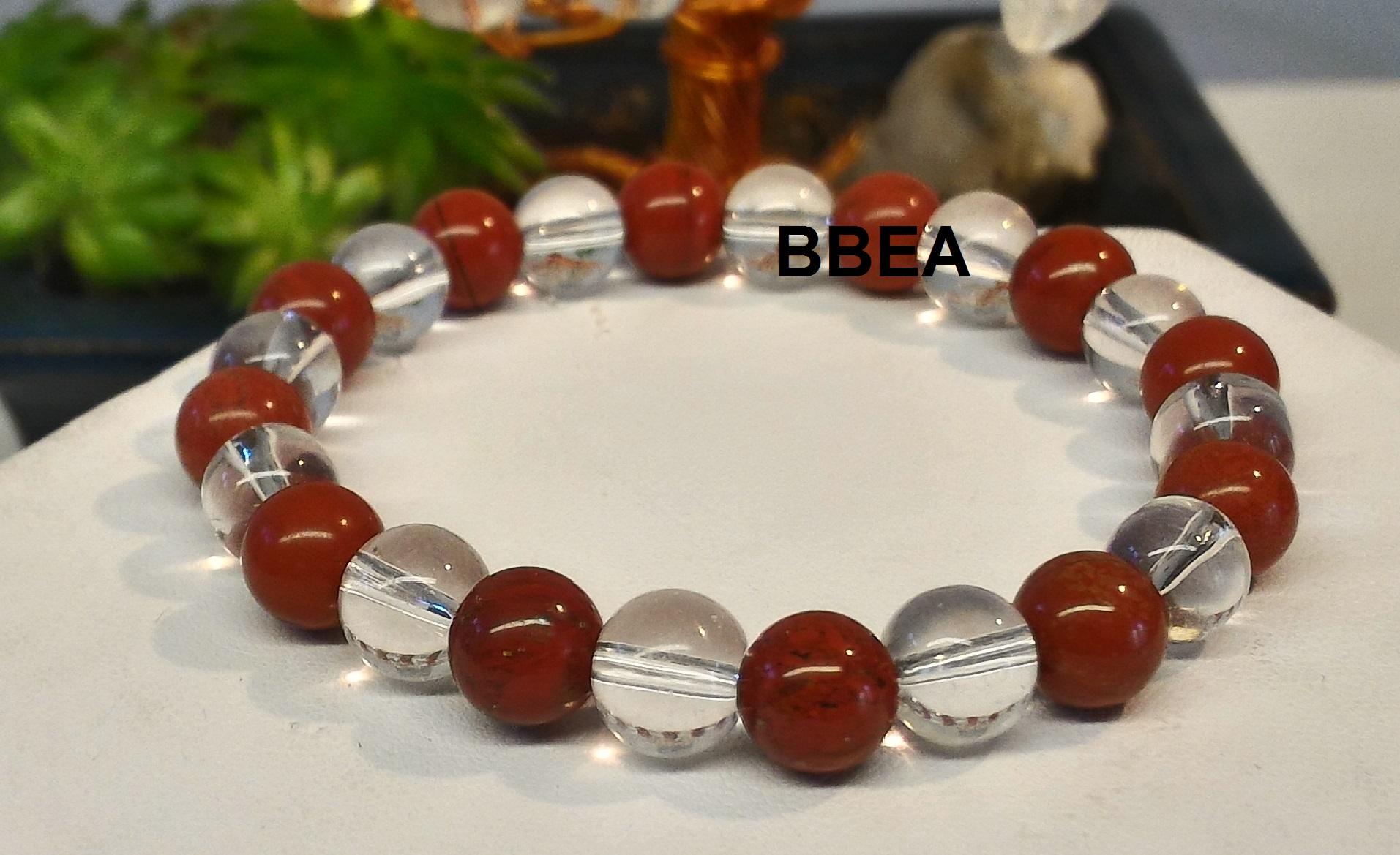 Bracelet jaspe rouge et cristal