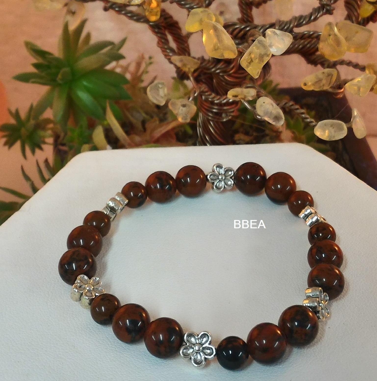 Bracelet obsidienne acajou 2