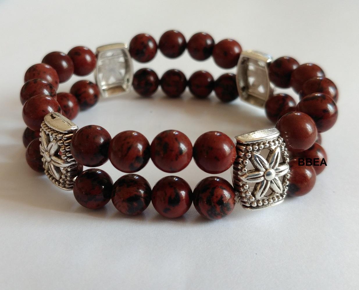 Bracelet obsidienne acajou double 1