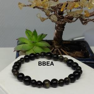 Bracelet obsidienne doree 1 1