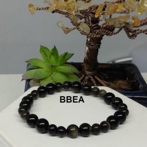 Bracelet obsidienne doree 1 1