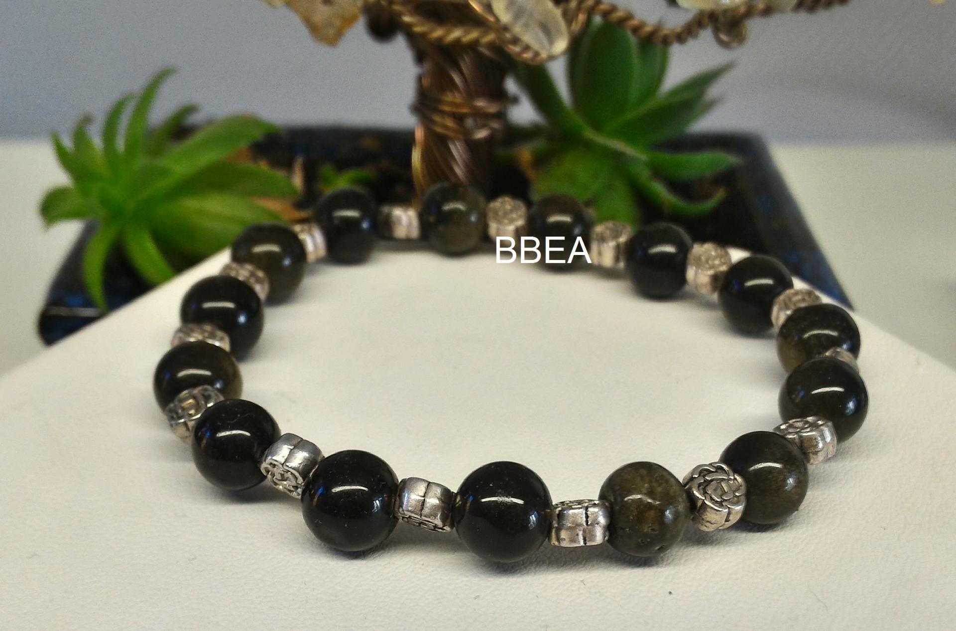 Bracelet obsidienne doree 1